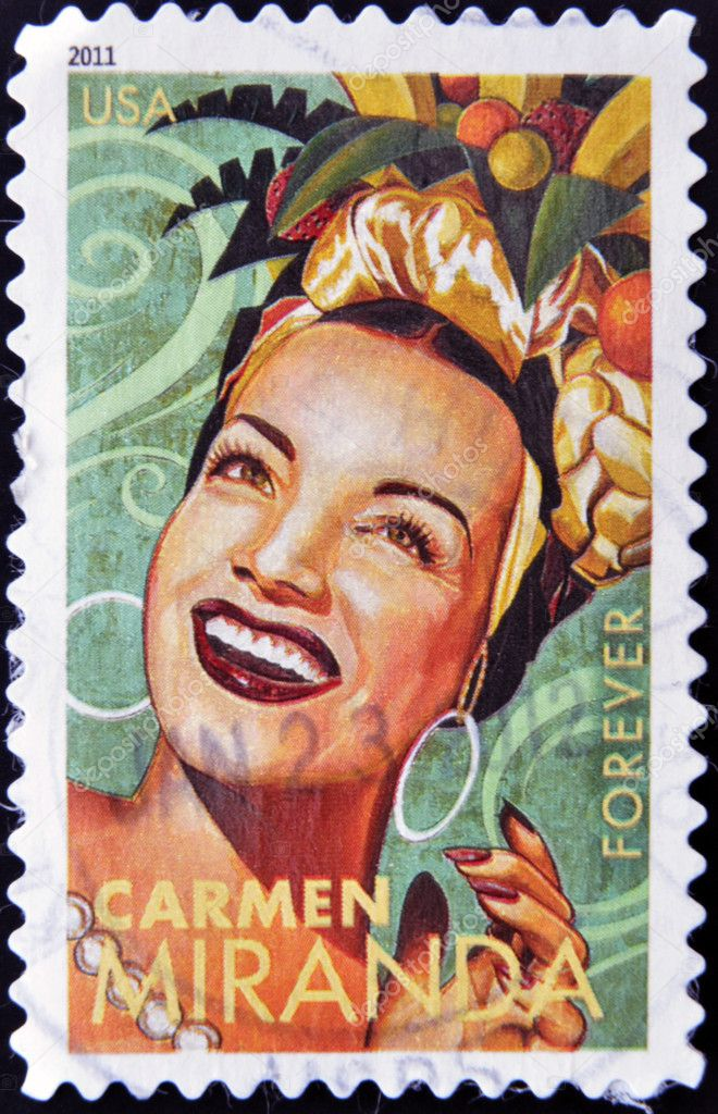 UNITED STATES OF AMERICA - CIRCA 2011: A stamp printed in USA shows Carmen Miranda, circa 2011 — Stock Photo #10220556