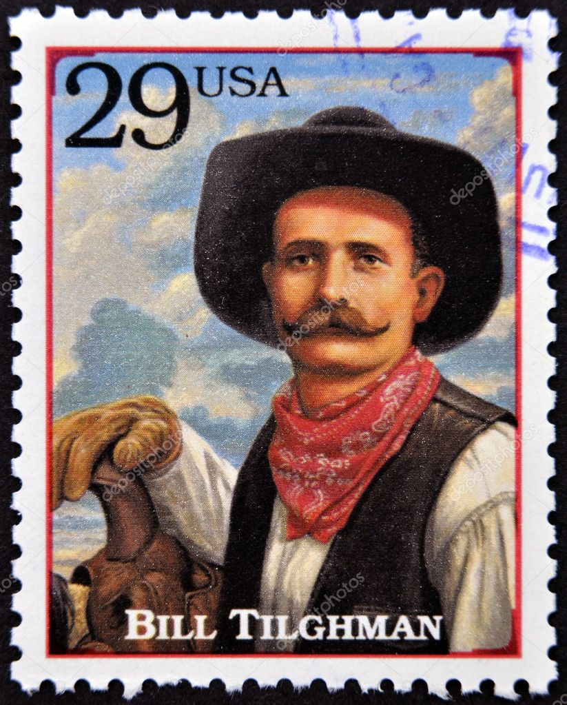 UNITED STATES OF AMERICA - CIRCA 1994 : Stamp printed in USA shows Bill Tilghman, lawman and gunslinger in the American Old West, circa 1994 — Stock Photo #10220998