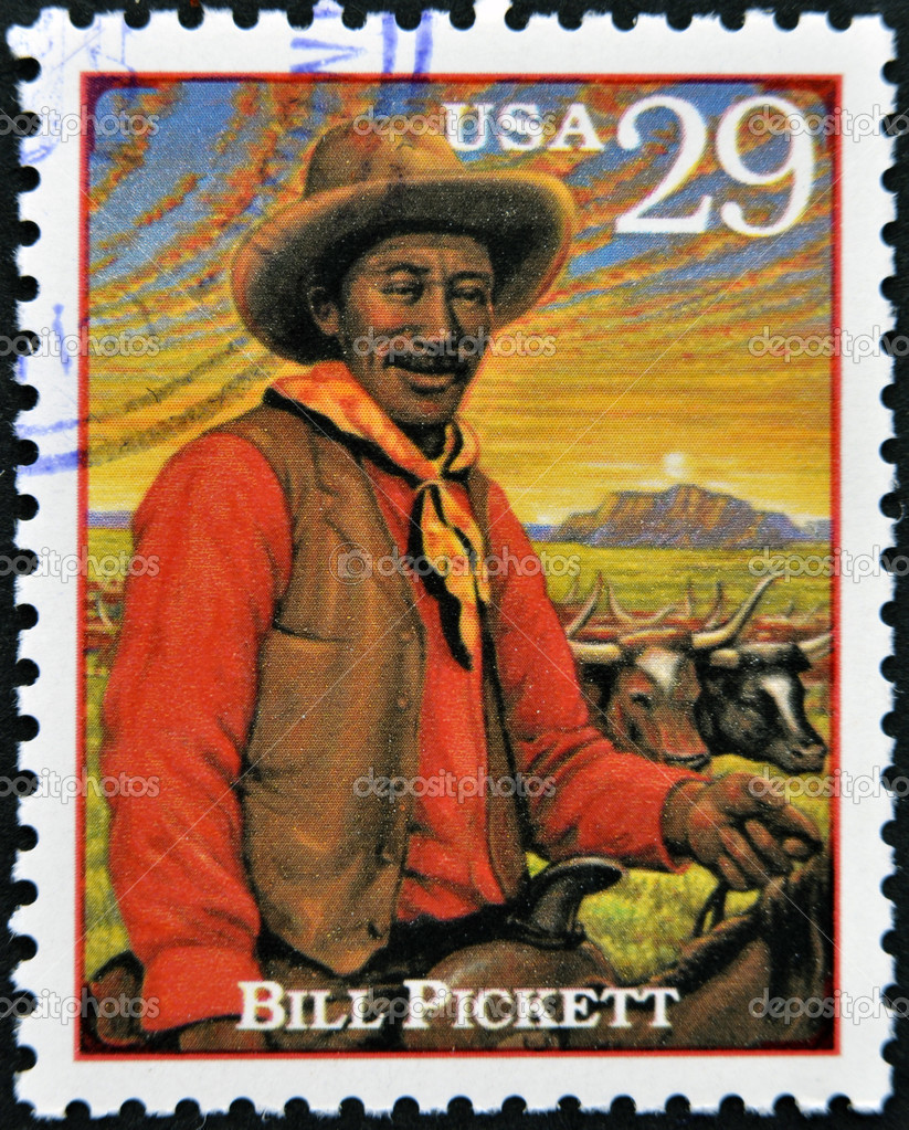 UNITED STATES OF AMERICA - CIRCA 1994: Stamp printed in USA show Bill Pickett, prominent Native American leader and medicine man of the Chiricahua Apache, circa 1994 — Stock Photo #10221164
