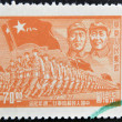 CHINA - CIRCA 1949: A stamp printed in China shows the march of the 's Liberation Army under the image of Mao and Zhu, circa 1949 — Stock Photo