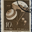 CHINA - CIRCA 1958: A stamp printed in china shows Parachute jump, circa 1958 - Stock Photo