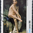 "Stock Photo: CUB- CIRC1980: stamp printed in Cubshow paint by artist Williams A. Bouguereau ""Innocence"", circ1980"