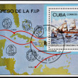 Stock Photo: CUBA - CIRCA 1982: A stamp printed in Cuba shows a French sailboat and the map of Central America, circa 1982