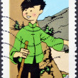 FRANCE - CIRCA 2007: A stamp printed in France shows Chang Chong-Chen, great friend of Tintin, circa 2007 — Stock Photo