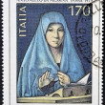 Постер, плакат: ITALY CIRCA 1979 A stamp printed in Italy shows a paintg by Antonello da Messina circa 1979