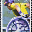 Stockfoto: JAPAN - CIRC2001: stamp printed in Japdedicated to National Sports Festival for with Disabilities, shows wheelchair race, circ2001