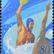JAPAN - CIRCA 2001: A stamp printed in Japan dedicated to the 9th FINA world swimming championships, circa 2001 - 图库照片