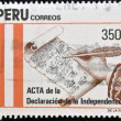 PERU - CIRCA 1971: A stamp printed in Peru shows The minutes of the declaration of independence, circa 1971 — Stock Photo #10712869