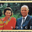 NORWAY - CIRC1997: stamp printed in Norway shows King Harald V and Queen SonjHaraldsen, circ1997 — Stock Photo #10712926