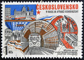 CZECHOSLOVAKIA - CIRCA 1975: A stamp printed in Czechoslovakia shows Prague metro, circa 1975 — Stock Photo