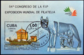 CUBA - CIRCA 1985: A stamp printed in Cuba dedicated to World Philatelic Exhibition in Italy, shows ship and the Capitoline she-wolf, circa 1985 — 图库照片