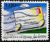 FRANCE - CIRCA 1997: A stamp printed in France shows the journey of a letter, circa 1997 — Zdjęcie stockowe