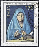 ITALY - CIRCA 1979 A stamp printed in Italy shows a paintg by Antonello da Messina, circa 1979 — Stock Photo