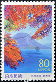 JAPAN - CIRCA 1999: A stamp printed in Japan shows Nantai Volcano, Honshu, circa 1999 — Stock Photo