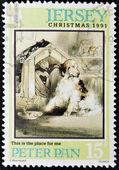 Jersey - circa 1991: um selo impresso em jersey dedicado ao centenário da publicação de 'peter pan', por volta de 1991 — Fotografia Stock