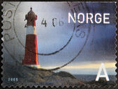 NORWAY - CIRCA 2005: A stamp printed in Norway shows a lighthouse, circa 2005 — Stock Photo