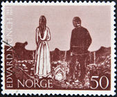 NORWAY - CIRCA 1963: A stamp printed in Norway shows Paintings by Edvard Munch, circa 1963 — Stock Photo