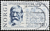NORWAY - CIRCA 1975: A stamp printed in Norway shows Cleng Peerson, circa 1975 — Stock Photo