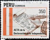 Peru - cerca de 1971: um selo impresso em shows de peru os minutos da declaração de independência, por volta de 1971 — Fotografia Stock