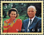 NORWAY - CIRCA 1997: A stamp printed in Norway shows King Harald V and Queen Sonja Haraldsen, circa 1997 — Stock Photo