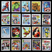 UNITED STATES OF AMERICA - CIRCA 2007: stamp collection printed in USA shows marvel comic superhero, circa 2007 — Stok fotoğraf