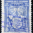 EL SALVADOR - CIRCA 1950: A stamp printed in El Salvador commemorate the military coup of December 14, 1948 — Stock Photo