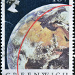 "Red line on Globe ""GREENWICH 1884-MERIDIAN-1984"", — Stock Photo"