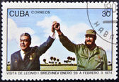Leonid Brezhnev and Fidel Castro — Stock Photo