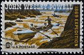 John Wesley Powell Exploring Colorado River — Foto Stock