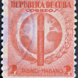 CUBA - CIRCA 1940: A stamp printed in Cuba dedicated to Havana snuff, circa — Stock Photo