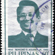 PHILIPPINES - CIRCA 1986: A stamp printed in Philippines shows Benigno Aquino, husband of Corazon Aquino, circa 1986 - Stok fotoraf
