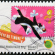 FRANCE - CIRC2009: stamp printed in USshows Sylvester and Tweety, circ2009 — Stock Photo #9181417