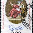 Stock Photo: FRANCE - CIRC1989: stamp printed in France in commemoration of bicentennial of French Revolution and Bill of Rights of Mand Citizen, circ19