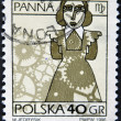 POLAND - CIRCA 1996: A stamp printed in the Poland, shows a sign of the zodiac, Virgo, circa 1996 — Stock Photo