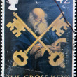 Stock Photo: UNITED KINGDOM - CIRCA 2003: A stamp printed in Great Britain shows saint Peter and the cross keys, circa 2003