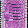 Stock Photo: US- CIRC1939: stamp printed in USshows image of dedicated to Inauguration Of Washington As First President circ1939.