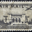 UNITED STATES OF AMERICA - CIRCA 1947: a stamp printed in USA shows plane over Pan American Union Building, Washington, DC, circa 1947 — Stock Photo