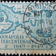 Stock Photo: UNITED STATES - CIRC1949: Stamp printed by United states, shows Stoddert´s 1718 Map of Regions about Annapolis, Redrawn, circ1949