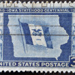UNITED STATES - CIRCA 1946: stamp printed by United states, shows Iowa State Flag and Map, circa 1946 — Stock Photo