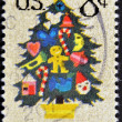 A stamp printed in the USA shows Christmas Tree — Stock Photo