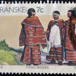 Stock Photo: Stamp printed in Transkei shows fingo brides