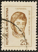 A stamp printed in Argentina shows Jose de San Martin — Stock Photo