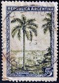 A stamp printed in Argentina shows Iguazu Falls — Stock Photo
