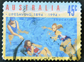 A stamp printed in Australia dedicated to lifesaving, education — Stock Photo