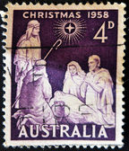 A stamp printed in Australia shows birth of Jesus Christ — Stock Photo