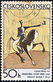 "CZECHOSLOVAKIA - CIRCA 1972: A Stamp printed in Czechoslovakia shows draw ""Haute Ecole"" by Frantisek Tichy circa 1972 — Stock Photo"