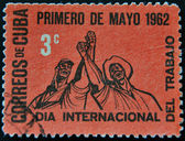 CUBA - CIRCA 1962: A stamp printed in Cuba dedicated to Labor Day — Stock Photo