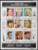 Stamp printed in Cuba dedicated to the centenary of cinema — Stock Photo