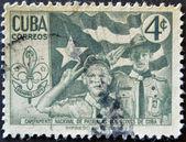 CUBA - CIRCA 1954: A stamp printed in Cuba dedicated to national camp scout patrols of Cuba, circa 1954 — Stock Photo