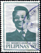 PHILIPPINES - CIRCA 1986: A stamp printed in Philippines shows Benigno Aquino, husband of Corazon Aquino, circa 1986 — Stock Photo